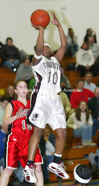 GLASTONBURY, CT, 03/06/07- 030607BZ17- Torrington's Courtney Sturdivant (10) shoots against Manchester  during the Class LL semifinals at Glastonbury High School Tuesday. <br /> Jamison C. Bazinet Republican-American