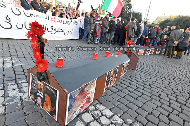 Rome, Italy, January 9, 2011 - Protest against attacks to Coptic Christians, following a deadly bombing at Coptic Church of the Saints in Alexandria, Egypt, where 22 people got killed on New Year's Day.