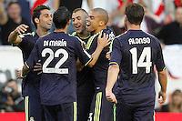 MADRI, ESPANHA, 24 SETEMBRO 2012 - CAMP. ESPANHOL - RVL X MAD - Karim<br />  Benzema  jogador do Real Madrid comemora seu gol durante lance de partida contra o Rayo Valecano, no estadio Teresa Rivero em Madri capital da Espanha, nesta segunda-feira, 24. (FOTO: CESAR CEBOLLA / ALFAQUI / BRAZIL PHOTO PRESS).