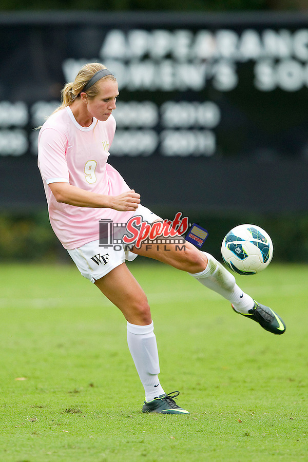 Jessica Mandarich (9) of the Wake Forest Demon Deacons in action against the Kansas Jayhawks at Spry Soccer Stadium on October 7, 2012 in Winston-Salem, North Carolina.  The Demon Deacons and the Jayhawks battled to a 1-1 tie in double overtime.  (Brian Westerholt/Sports On Film)