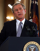United States President George W. Bush contemplates a reporter's question during a formal press conference from the East Room of the White House in Washington, DC on April 13, 2004.<br /> Credit: Ron Sachs / CNP
