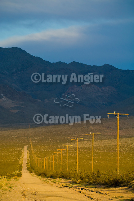 A dirt road and power lines stretch toward the Kingston Range in the California Desert