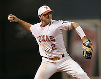 Texas Longhorns Infielder Travis Tucker during the 2008 season. Photo by Andrew Woolley / Four Seam Images.