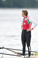 Lucerne, SWITZERLAND<br /> <br /> Womes single qualifier BEL W1X. Ekaterina KARSTEN, watches the men's single scull race from the presentation dock. 2016 European Olympic Qualifying Regatta, Lake Rotsee.<br /> <br /> Tuesday  24/05/2016<br /> <br /> [Mandatory Credit; Peter SPURRIER/Intersport-images]