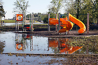 The playground in the Red Star District of Cape Girardeau, MO, on Wednesday, May 4, 2011. Since the Birds Point levee was intentionally breached by the Army Corps of Engineers on Monday, May 2, 2011, the Mississippi River floodwater have receded at least two feet, according to resident Peggy Benaivdz.