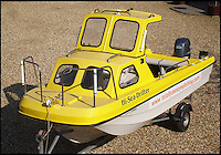 BNPS.co.uk (01202 558833)<br /> Pic: Graeme Pullen/BNPS<br /> <br /> ***Must use full byline***<br /> <br /> He may need a bigger boat in future...Graeme's tiny craft.<br /> <br /> Never mind the pollocks...<br /> <br /> This is the jaws-dropping moment an angler fishing for pollock hooked a whopping 450lbs shark less than a mile from a holiday beach.<br /> <br /> Graeme Pullen was making the most of a large shoal of the small white fish close to the north Devon coast when the 8ft long shark took his bait.<br /> <br /> Graeme shouted to friend Wayne Comben 'never mind the pollocks' as his rod bent over double and he began an almighty 30 minute fight to reel in the monster catch in.