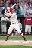 Arkansas Razorbacks outfielder Joe Serrano (10) batting at Baum Stadium during the NCAA baseball game against the Alabama Crimson Tide on March 21, 2014 in Fayetteville, Arkansas.  The Alabama Crimson Tide defeated the Arkansas Razorbacks 17-9.  (William Purnell/Four Seam Images)