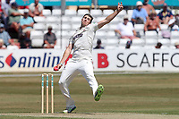 Jamie Overton in bowling action for Somerset during Essex CCC vs Somerset CCC, Specsavers County Championship Division 1 Cricket at The Cloudfm County Ground on 25th June 2018