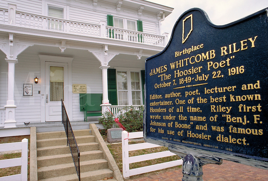 """The restored home in Greenfield, Indiana where James Whitcomb Riley was born October 7, 1849. Famous as """"""""The Hoosier Poet"""""""", he was also an editor, author, lecturer, and entertainer. He died July 22, 1916. James Whitcomb Riley. Greenfield Indiana."""