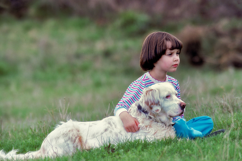 Young girl with English Setter dog in farm pasture. Oregon