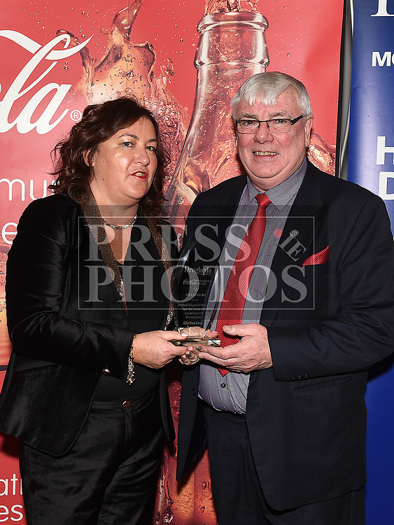 Valerie Sherlock presents the Hall of Fame award to Seamie Briscoe at the Drogheda Independent Sports Star Awards in the Westcourt Hotel.  Photo:Colin Bell/pressphotos.ie