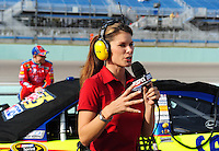 Nov. 20, 2009; Homestead, FL, USA; ESPN television analyst Jamie Little talks during qualifying for the Ford 400 at Homestead Miami Speedway. Mandatory Credit: Mark J. Rebilas-