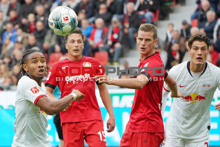 05.10.2019, BayArena, Leverkusen, GER, 1. FBL, Bayer 04 Leverkusen vs. RB Leipzig,<br />  <br /> DFL regulations prohibit any use of photographs as image sequences and/or quasi-video<br /> <br /> im Bild / picture shows: <br /> Kopfball durch Matheus Cunha (RB Leipzig #20),  <br /> <br /> Foto © nordphoto / Meuter