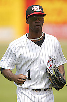 Hickory center fielder Andrew McCutchen in game action versus Asheville at L.P. Frans Stadium in Hickory, NC, Sunday, May 21, 2006.  Hickory defeated Asheville 5-4.