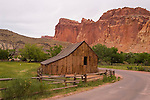 Historic Gifford Barn beneath the cliffs of Capitol Reef NP in central Utah.