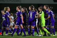 20190920 – LEUVEN, BELGIUM : RSC Anderlecht's players are pictured celebrating the second goal of Tine De Caigny during a women soccer game between Dames Oud Heverlee Leuven A and RSC Anderlecht Ladies on the fourth matchday of the Belgian Superleague season 2019-2020 , the Belgian women's football  top division , friday 20 th September 2019 at the Stadion Oud-Heverlee Korbeekdam in Oud Heverlee  , Belgium  .  PHOTO SPORTPIX.BE   SEVIL OKTEM