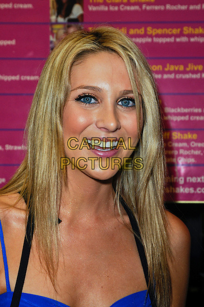 STEPHANIE PRATT.creates her Slumber Party Milkshake at Millions of Milkshakes in West Hollywood, California, USA,.January 9th, 2010..portrait headshot blue black make-up smiling .CAP/ROT.©Lee Roth/Capital Pictures.