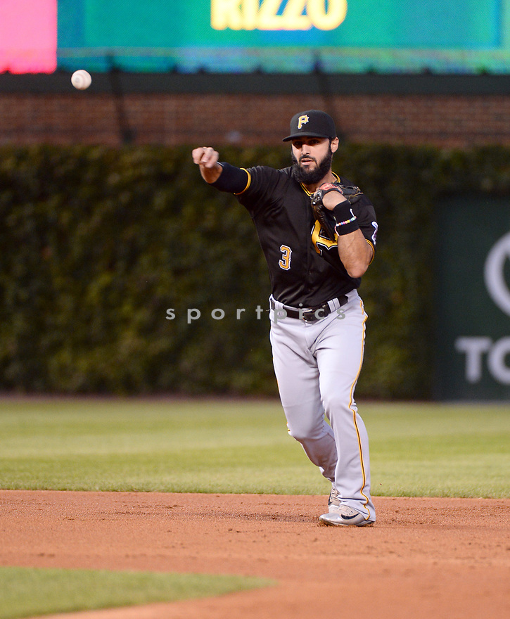 Pittsburgh Pirates Sean Rodriguez (3) game against the Chicago Cubs on August 31, 2016 at Wrigley Field in Chicago, IL. The Cubs beat the Pirates 6-5.