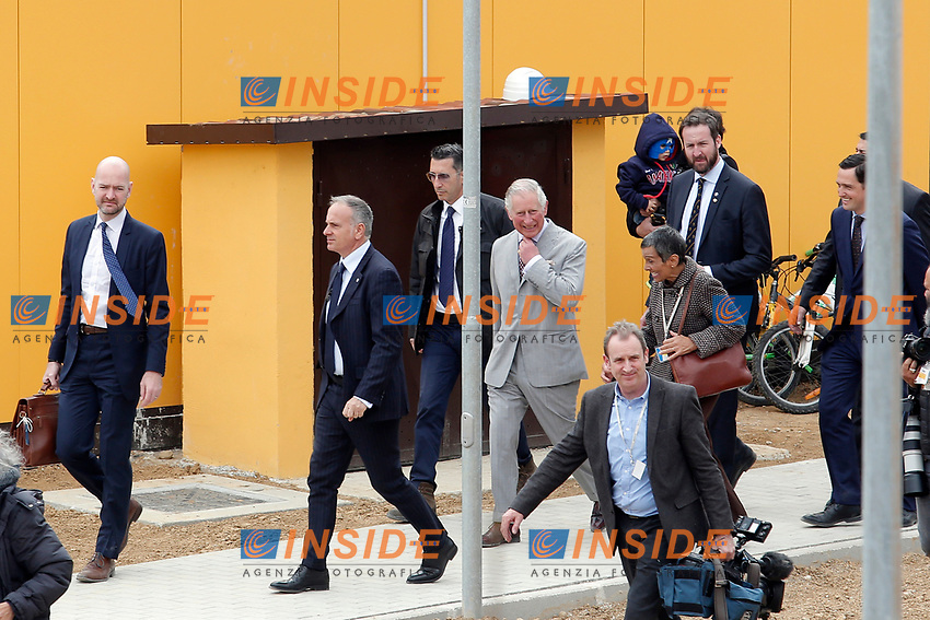 Il Principe Carlo visita le casette provvisorie<br /> Prince Charles of Wales visits the temporary wooden houses<br /> Amatrice 02/04/2017. Il Principe Carlo del Galles in visita nella zona terremotata di Amatrice<br /> Amatrice April 2nd 2017. Prince Charles of Wales visits Amatrice, hit by the earthquake of 24 August. <br /> Foto Samantha Zucchi Insidefoto