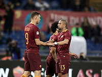 Calcio, Serie A: Roma, stadio Olimpico, 1 aprile, 2017.<br /> Roma's Edin Dzeko (l) celebrates after scoring with his teammate Bruno Peres (r) and Mohamed Salah (c) during the Italian Serie A football match between Roma and Empoli at Olimpico stadium, April 1, 2017<br /> UPDATE IMAGES PRESS/Isabella Bonotto