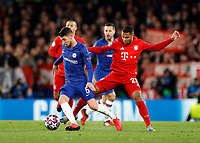 25th February 2020; Stamford Bridge, London, England; UEFA Champions League Football, Chelsea versus Bayern Munich; Serge Gnabry of Bayern Munich challenges Jorginho of Chelsea for the ball