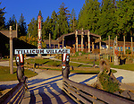 Blake Island State Park, WA  © Terry Donnelly  /<br /> Boat dock at Tillicum Village featuring Northwest Native carvings and architecture