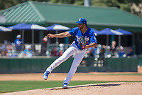 Rancho Cucamonga Quakes starting pitcher Jordan Sheffield (11) follows through on his delivery against the Lake Elsinore Storm at LoanMart Field on April 22, 2018 in Rancho Cucamonga, California. The Storm defeated the Quakes 8-6.  (Donn Parris/Four Seam Images)
