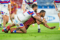Picture by Allan McKenzie/SWpix.com - 11/05/2018 - Rugby League - Ladbrokes Challenge Cup - Huddersfield Giants v Wakefield Trinity - John Smith's Stadium, Huddersfield, England - Wakefield's David Fifita is unable to prevent Huddersfield's Ukuma Ta'ai's scoring a try.