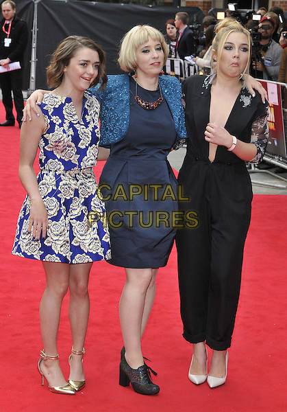 LONDON, ENGLAND - OCTOBER 11: Maisie Williams, Carol Morley &amp; Florence Pugh attend the &quot;The Falling&quot; Official Competition screening, 58th BFI LFF Day 4, Odeon West End cinema, Leicester Square, on Saturday October 11, 2014 in London, England, UK. <br /> CAP/CAN<br /> &copy;Can Nguyen/Capital Pictures
