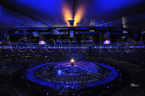 27.07.2012. London, England. The Opening Ceremony of the Olympic Games from the Olympic Stadium in Stratford. The Olympic flame roars int he middle of the stadium floor