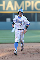 Kevin Kramer (7) of the UCLA Bruins runs the bases during a game against the Hofstra Pride at Jackie Robinson Stadium on March 14, 2015 in Los Angeles, California. UCLA defeated Hofstra, 18-1. (Larry Goren/Four Seam Images)