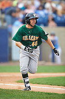 Lynchburg Hillcats right fielder Bobby Ison (40) runs to first base during a game against the Wilmington Blue Rocks on June 3, 2016 at Judy Johnson Field at Daniel S. Frawley Stadium in Wilmington, Delaware.  Lynchburg defeated Wilmington 16-11 in ten innings.  (Mike Janes/Four Seam Images)