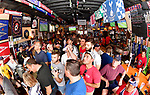 Soccer fans inside the Amsterdam Tavern in St. Louis watch the broadcast of the World Cup soccer championship game between Croatia and France on Sunday July 15, 2018.               Photo by Tim Vizer