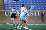 Samantha Herman (11) of the High Point Panthers battles for the opening draw against Marie McCool (4) of the North Carolina Tar Heels at Vert Track, Soccer & Lacrosse Stadium on February 16, 2018 in High Point, North Carolina.  The Tar Heels defeated the Panthers 14-10.  (Brian Westerholt/Sports On Film)