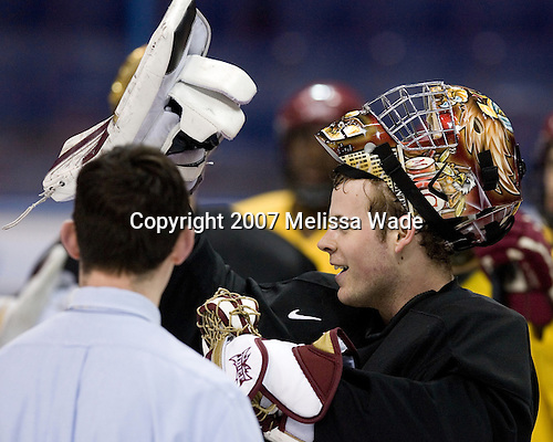 "Tim McFeely and Adam Reasoner (Boston College - Honeoye Falls, NY) take part in the Eagles' Wednesday practice on April 4, 2007 at the Scottrade Center in St. Louis, Missouri, prior to their Thursday 2007 Frozen Four Semi-Final. Reasoner won the ""belt"" after not allowing a single goal.."
