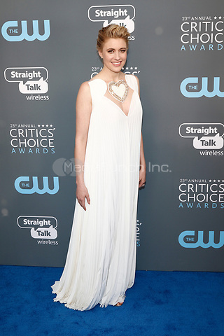 Greta Gerwig attends the 23rd Annual Critics' Choice Awards at Barker Hangar in Santa Monica, Los Angeles, USA, on 11 January 2018. - NO WIRE SERVICE - Photo: Hubert Boesl/dpa /MediaPunch ***FOR USA ONLY***