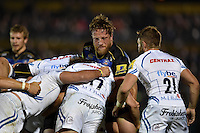 Max Lahiff of Bath Rugby in action at a maul. West Country Challenge Cup match, between Bath Rugby and Exeter Chiefs on October 10, 2015 at the Recreation Ground in Bath, England. Photo by: Patrick Khachfe / Onside Images