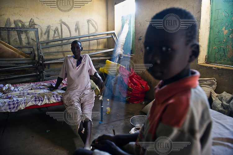 Family living in a temporary shelter.