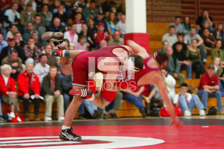 4 February 2005: Stanford Cardinal Matt Gentry, the 2004 NCAA Champion during Stanford's 25-12 loss to Fresno State at Burnham Pavilion in Stanford, CA. Gentry's 64 match win streak was ended.