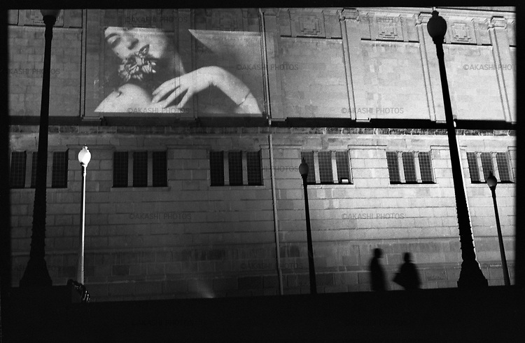 Picture is projected against the wall of MNAC, Modern National Arts of Catalunya, Barcelona.