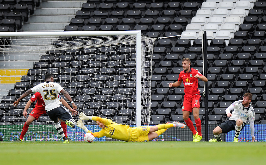 Blackburn Rovers' Jason Steele beaten Fulham's Moussa Dembele to give Fulham a 2-0 first half lead<br /> <br /> Photographer Ashley Western/CameraSport<br /> <br /> Football - The Football League Sky Bet Championship - Fulham v Blackburn Rovers - Sunday 13th September 2015 - Craven Cottage<br /> <br /> &copy; CameraSport - 43 Linden Ave. Countesthorpe. Leicester. England. LE8 5PG - Tel: +44 (0) 116 277 4147 - admin@camerasport.com - www.camerasport.com