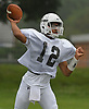 Aaron Ruthman #12, Elmont quarterback, throws a pass during football practice at Hofstra University on Sunday, June 18, 2017. Team Long Island will face its New York City counterpart in the 22nd annual Empire Challenge at Hofstra on Wednesday, June 21 at 7:00PM.