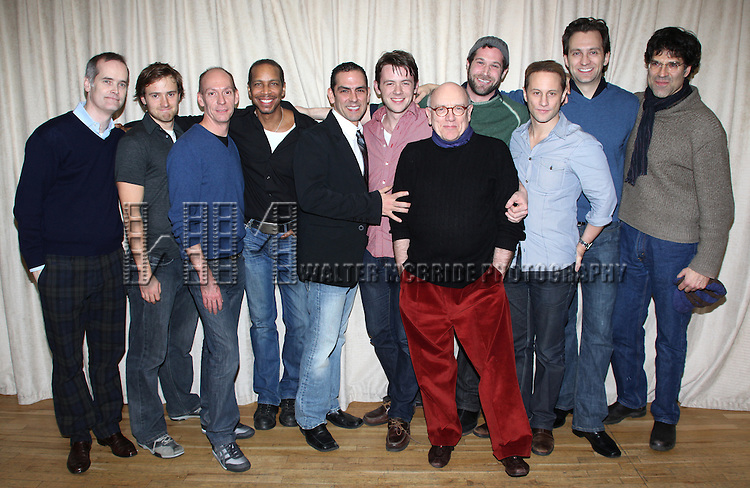Jack Cummings III (Director), Aaron Sharff as Cowboy, John Wellmann as Emory, Kevyn Morrow as Bernard, Jonathan Hammond as Michael, Nick Westrate as Donald, Mart Crowley (Playwright), Jon Levenson as Harold, Kevin Isola as Alan, Graham Rowat as Hank & Christopher Innvar as Larry.attending the Meet & Greet for Transport Group's THE BOYS IN THE BAND at the Chelsea Studios in New York City..January 12, 2009.© Walter McBride /