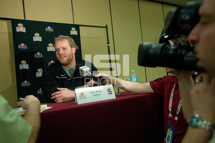 FORT LAUDERDALE, FL--Chase Beeler answers questions from the media during the Offense Press Conference at the Marriott Harbor Beach in Fort Lauderdale, Florida.