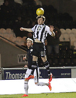 Calum Gallagher heading the ball in the St Mirren v Falkirk Scottish Professional Football League Ladbrokes Championship match played at the Paisley 2021 Stadium, Paisley on 1.3.16.
