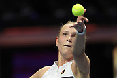 February 3rd 2019. St Petersburg, Russia; Donna Vekic of Croatia serves to Kiki Bertens of Netherlands during the St. Petersburg Ladies Trophy tennis tournament final match on February 03, 2019, at Sibur Arena