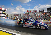 Feb 7, 2014; Pomona, CA, USA; NHRA top pro stock driver Jimmy Alund during qualifying for the Winternationals at Auto Club Raceway at Pomona. Mandatory Credit: Mark J. Rebilas-