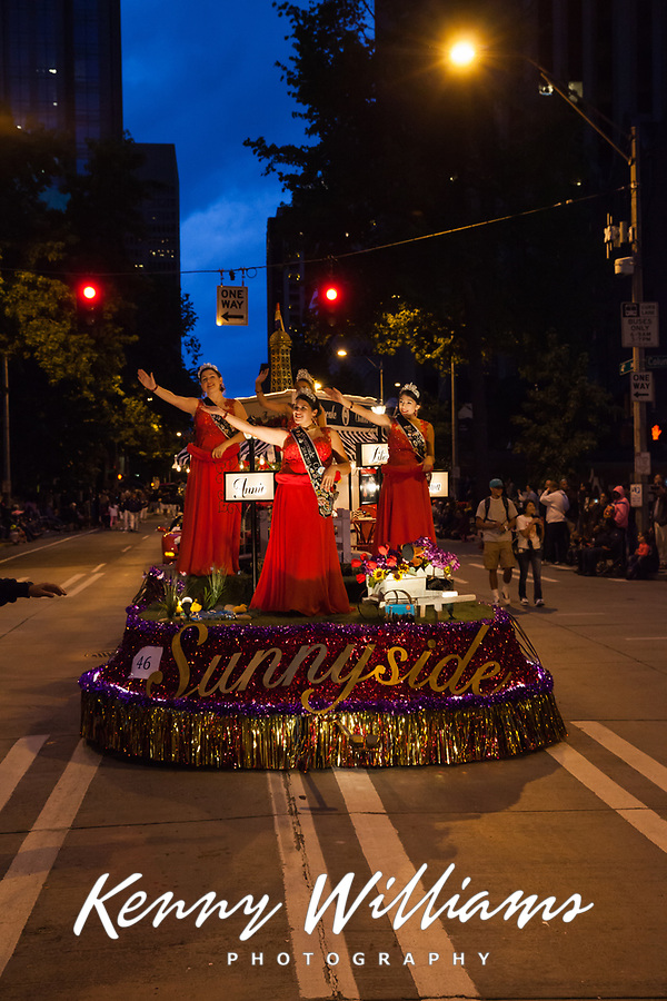Sunnyside Beauty Pagent Float at Night, Seafair Torchlight Parade 2015, Seattle, Washington State, WA, America, USA.