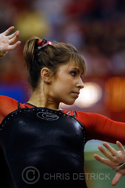 Georgia's Courtney Kupets competes on the floor exercise during the 2009 Individual Event Finals at the University of Nebraska's Bob Devaney Sports Center Saturday, April 18, 2009.  ..Chris Detrick/The Salt Lake Tribune
