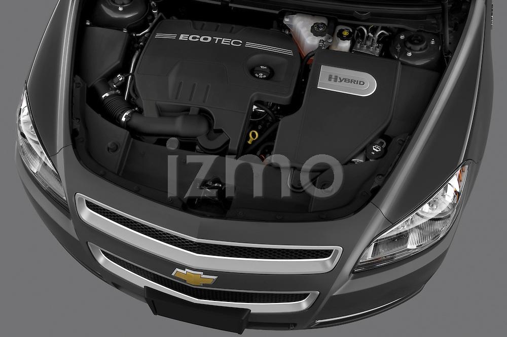 High angle engine detail of a 2009 Chevrolet Malibu Hybrid .